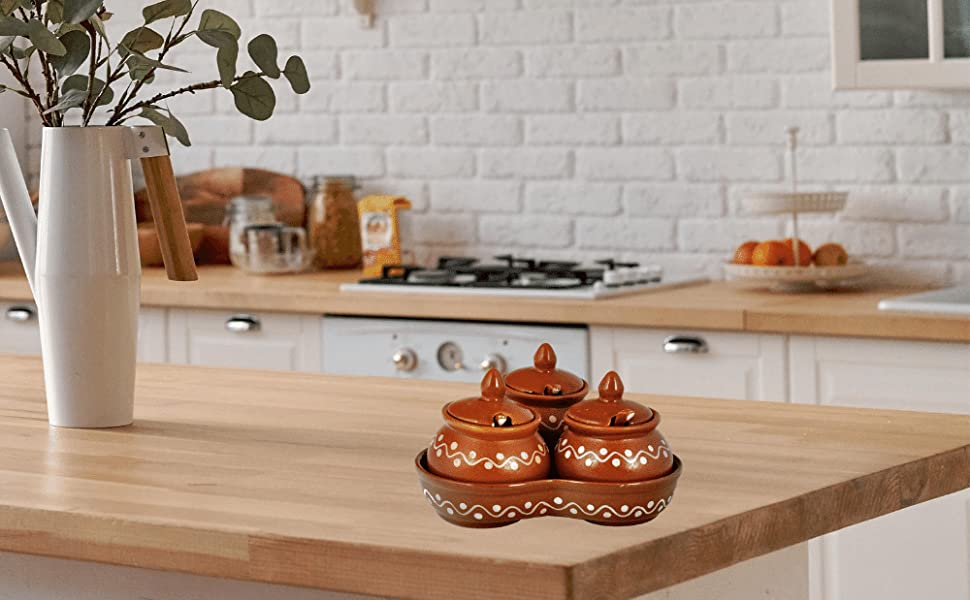 ceramic pickle serving jars set of 3 tray condiment handmade khurja blue pottery storage jars set