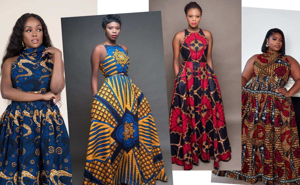 African women printed floral short skirt elegant Asymmetric Long dress casual