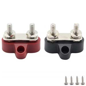 Antrader 1//4 Insulated Dual M6 Positive Power Distribution Stud Battery Junction Post Nylon Terminal Block Red /& Black Set