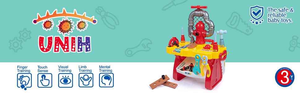 Kids Tool Bench for Boys Age 2-4, Toddlers Construction Fixing Tool Workbench Preschool Carpenter