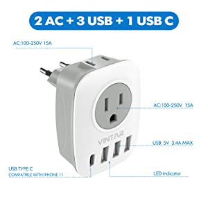 1 USB Type C and 3 USB Ports European Travel Plug Adapter