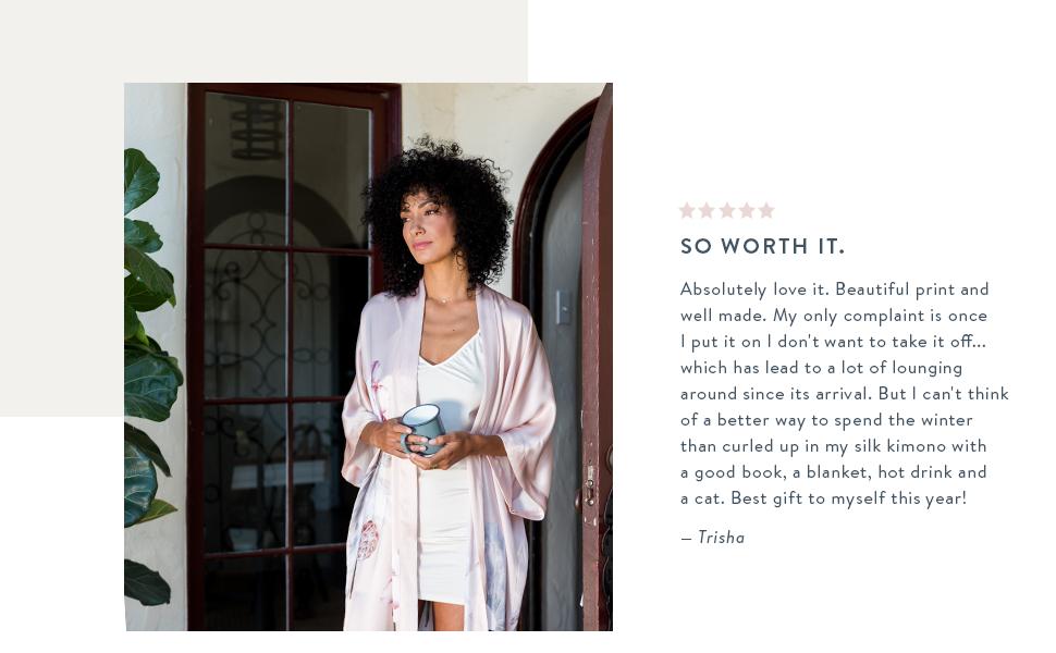 KIM+ONO Women's Printed Silk Kimono Robes Kuren Dusty Pink testimonial review gift for self lounge
