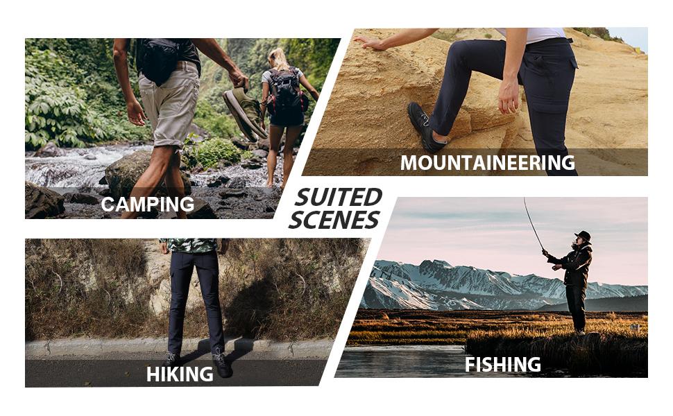 Mens Hiking fishing Pants Convertible Quick Dry Zip Off UPF Lightweight Travel Camping Safari Pants