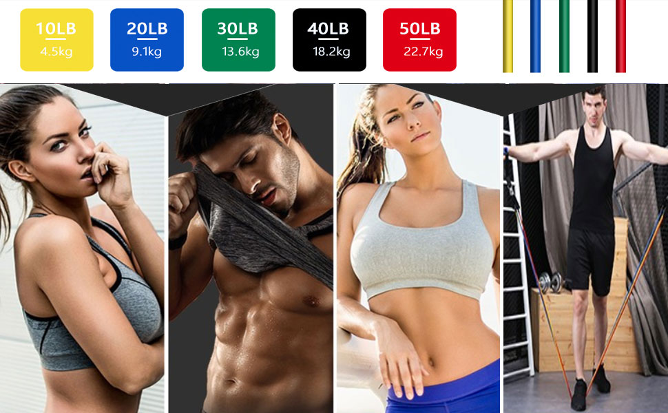 Bande Élastique Entraînement volumes Fitness Bandes Bracelet connecté Résistance 6.8-15.88kg