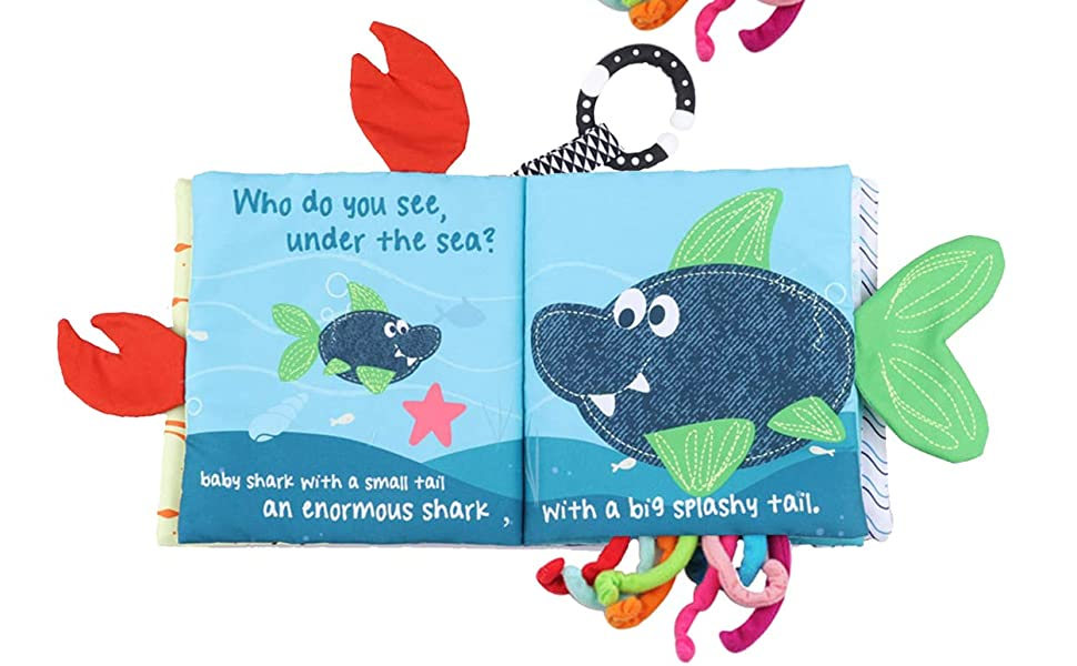 baby shark book baby shark toy cloth book soft book crinkle books for infant babies teether ring toy