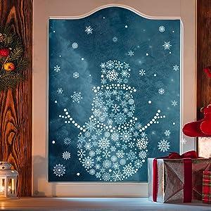 snowman glass door snowflakes