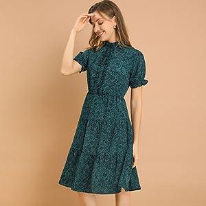 Allegra K Women's Bohemian Floral Ruffles Knee-Length Ruched Dress
