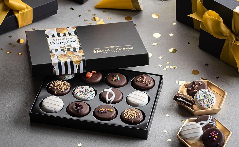 Hazel & Creme Happy Birthday Cookie Gift - 12 Cookies - Birthday Food Gift Chocolate Covered Cookie