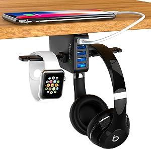 Gaming Headset Holder Hanger with 5 Port USB Charging Station