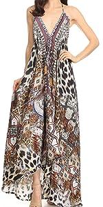 printed halter summer sleeveless v-neck backless summer casual elegant event wedding long maxi dress