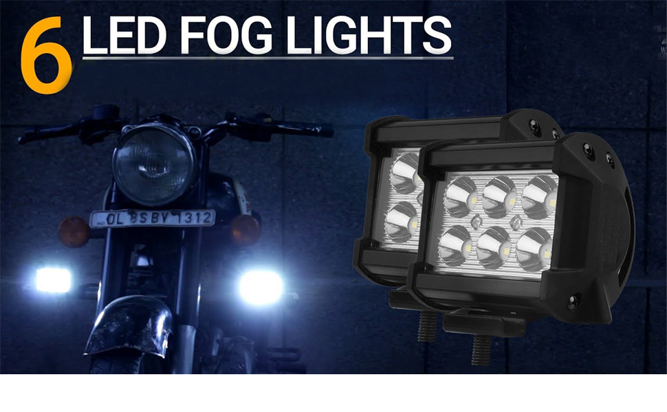 Riderscart Car Bike 6 Led Fog Light