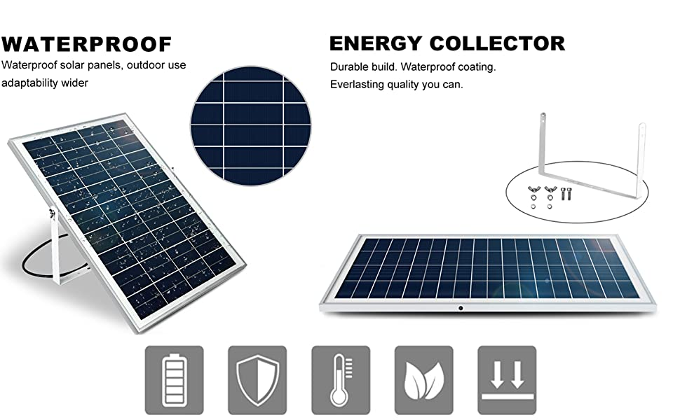 25 Watt Solar Panel with Bracket Aligator clips for Battery Charging ECO-WORTHY 25W 12V Solar Panel Kits 3A Charge Controller