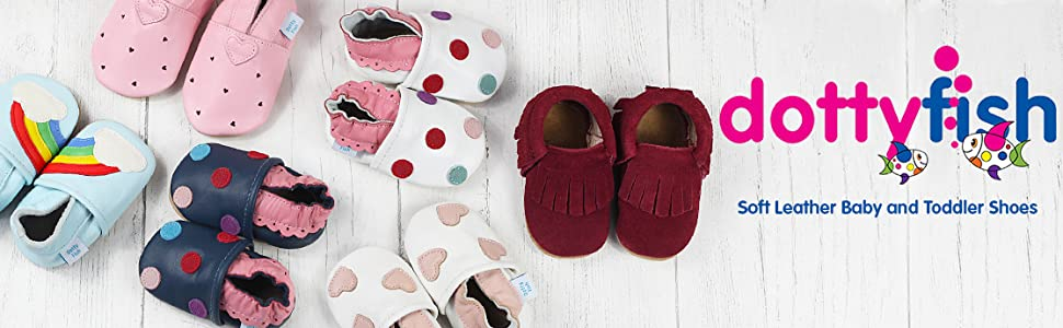 Dotty Fish soft leather baby shoes, leather booties, leather slippers, baby girls, pink baby shoes