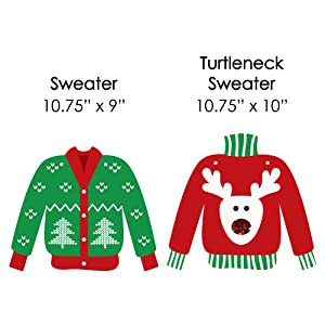 Hanging Ugly Sweater - Outdoor Hanging Decor - Holiday amp; Christmas Party Decorations - 10 Pieces