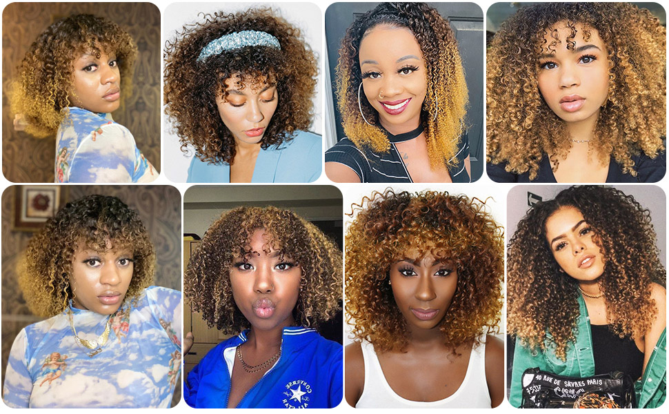 Ombre curly wigs with bangs