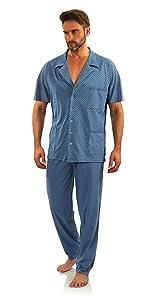 pijama corto con botones para hombre