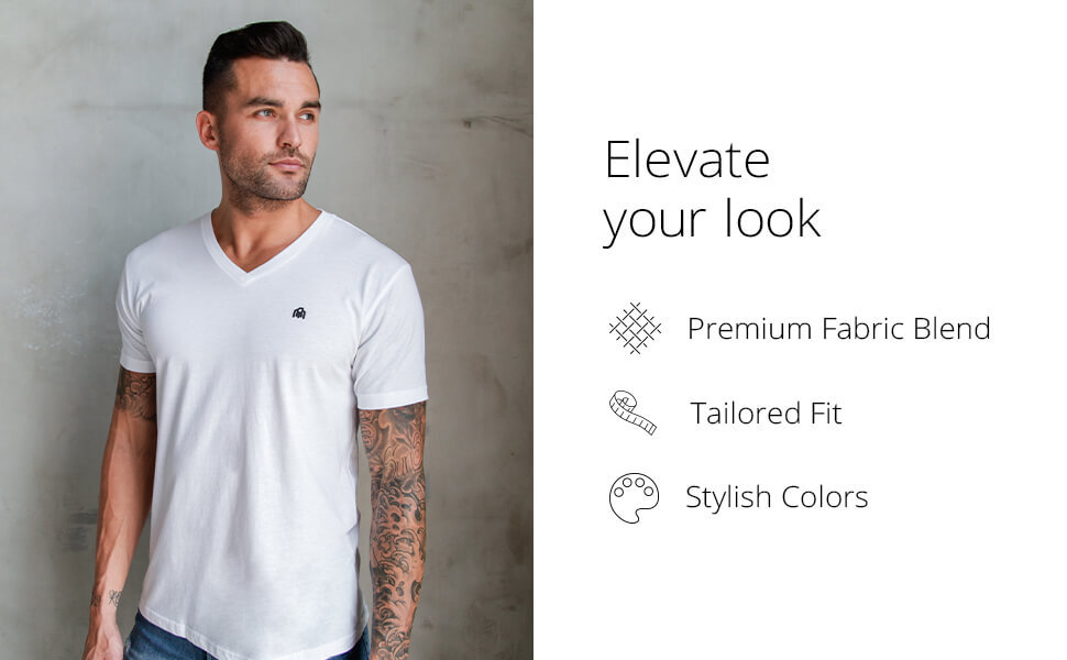 INTO THE AM model wearing White Basic V-Neck - It's all in the details