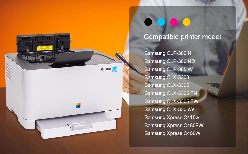 EBY 4 Paquetes CLT-P406C CLT-406S Cartucho de tóner para Samsung ...