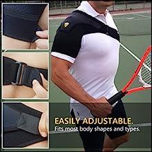 The shoulder compression brace has a universal fit