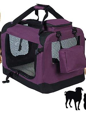 EUGAD Bolsa de Transporte para Mascotas Transportín de Mascotas Perros Gato Plegable para Coche Viaje Avion con Cojín Acolchada, M/60x42x42 cm Violeta 0114HT: Amazon.es: Productos para mascotas