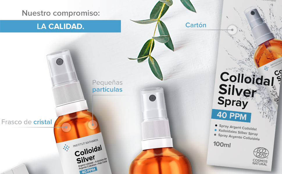 Plata Coloidal Prémium 100 ml ● 40 ppm ● Óptima Concentración, Partículas más Pequeñas, Mejores Resultados ● Certificada por Laboratorio ● Incluye ...