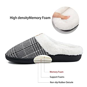 comfy house slippers for women slippers memory foam house shoes with arch support black ladies shoes