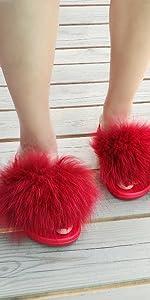 Red Wine Fur Slides For Christmas Gift