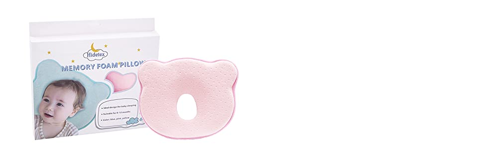 anti baby flat head pillow pink