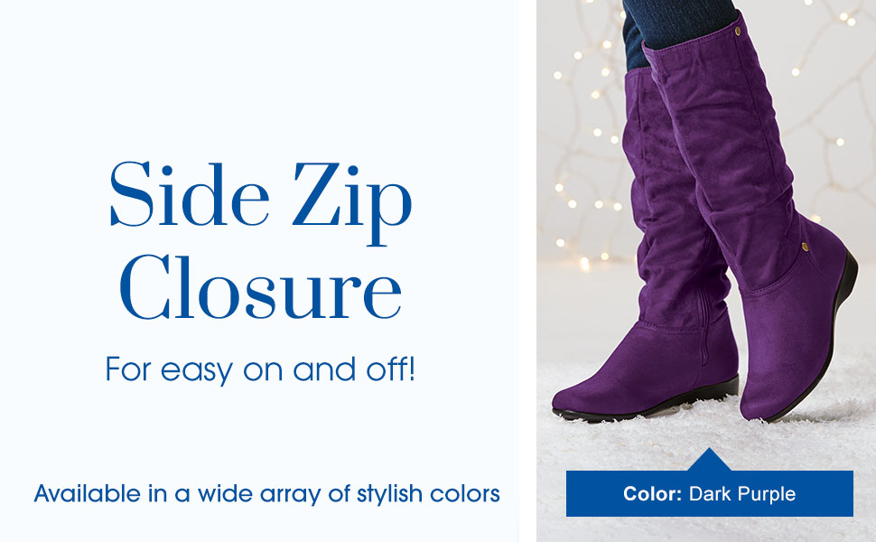 Side Zip Closure. For easy on and off!