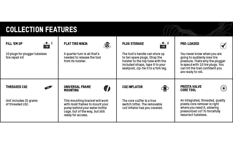 blackburn plugger tubeless tire reapir kit pro co2 inflator bike features