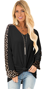 Leopard Sleeve Pullover Sweater Tops