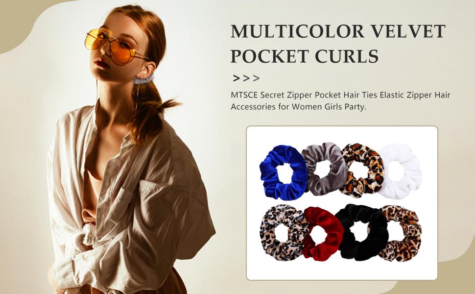 Multicolor Velvet Pocket Curls