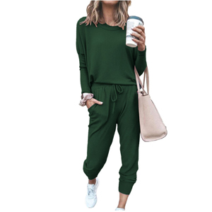 Two Piece Outfit Long Sleeve Crewneck Pullover Tops And Long Pants Sweatsuits Tracksuits