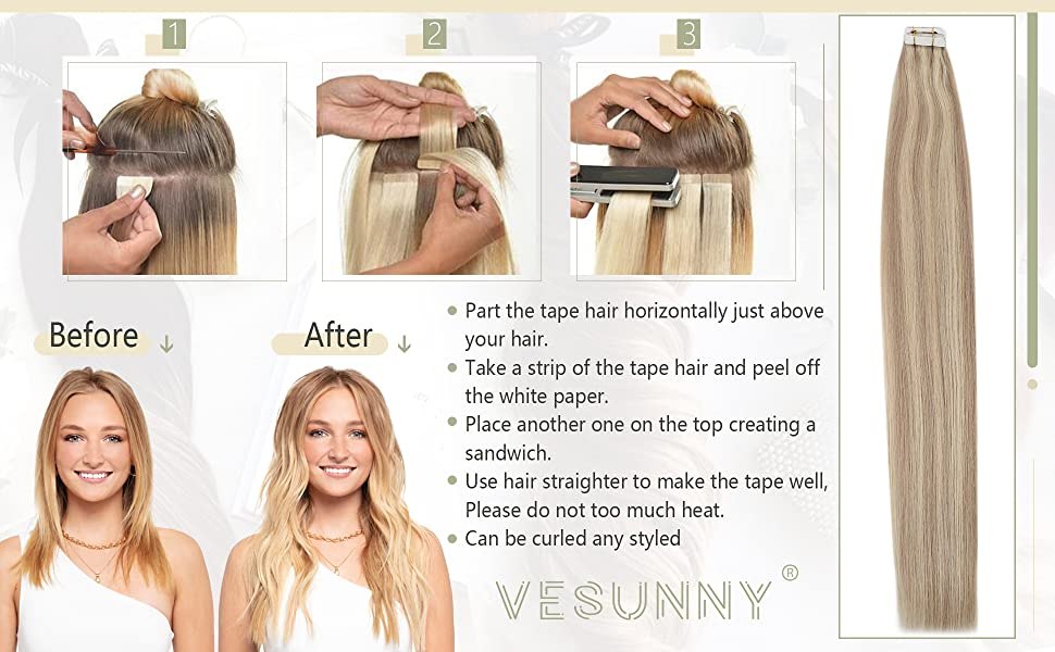 Blonde Remy Tape in Hair Extensions Human Hair