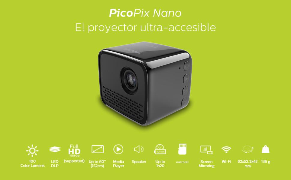 Philips Proyector de Bolsillo PicoPix Nano PPX120, LED, 100 ...