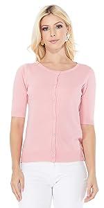 YEMAK Women's Short Sleeve Crewneck Button Down Casual Soft Cardigan Sweater