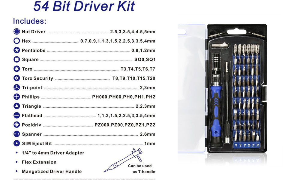 86 in 1 Precision Screwdriver Set with 54 Bits  in the following sizes