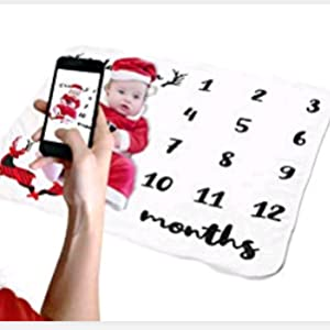 manta para envolver beb/és N/úmero de beb/é 100x100cm Manta para beb/é con dise/ño de hito mensual JMITHA fondo de fotos de Navidad e-Alas de /ángel 2
