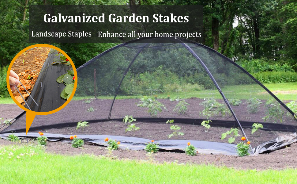 Galvanized Garden Stakes and Landscape Staples