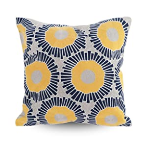 decorative embroidered pillow cover yellow and blue sunflowers design embroidery pillow cover