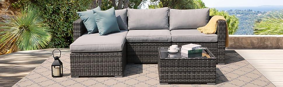 Patiorama Outdoor Patio Furniture Set, Outdoor Wicker Conversation Set, Patio Rattan Chair Set,