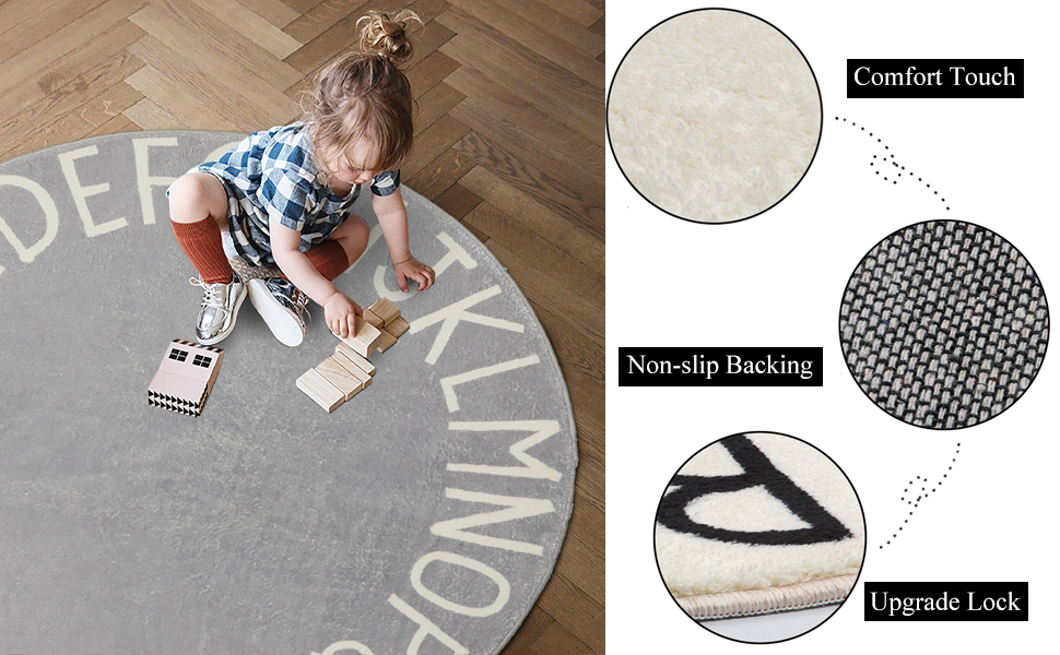 UArtlines ABC Kids Play Mat Baby Nursery Rug Round Educational Alphabet Soft Area Rug Non Slip for Children Toddlers Bedroom Gray, 4 ft