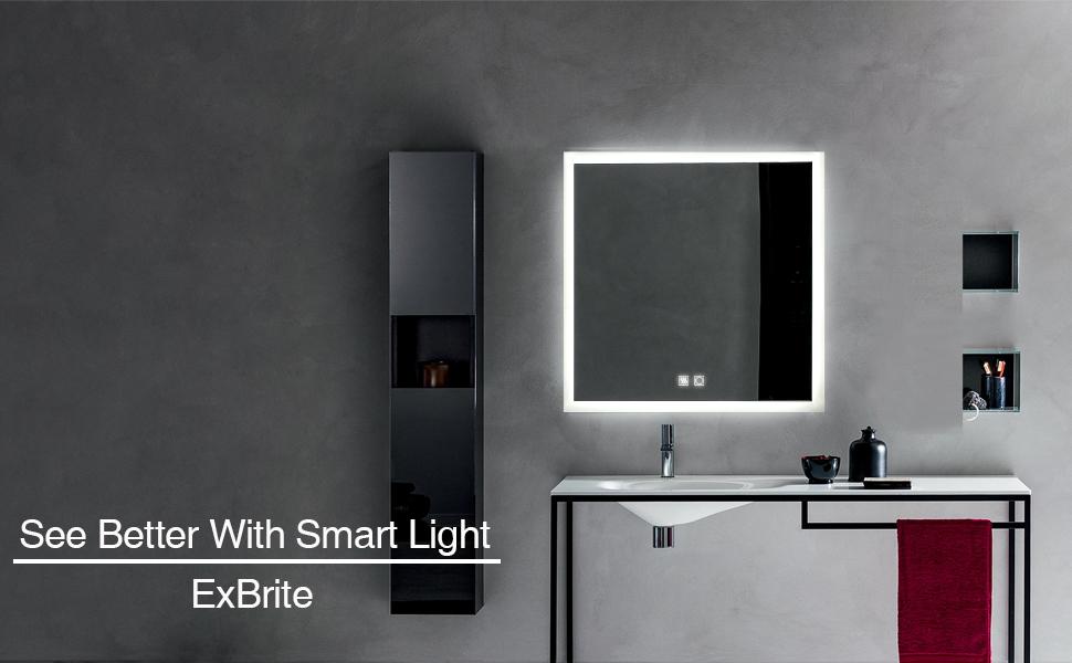 Amazon Com Exbrite Led Bathroom Mirror 36 X 36 Inch Anti Fog