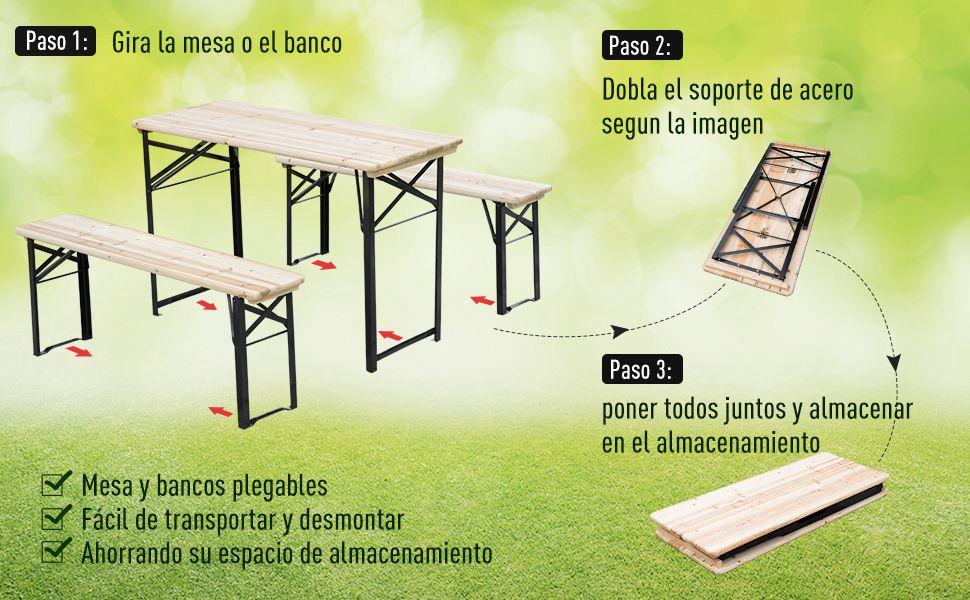 Outsunny Conjunto de Mesa y 2 Bancos de Jardín Picnic Mesa de Madera de Cerveza Mesa y Sillas Plegables: Amazon.es: Jardín