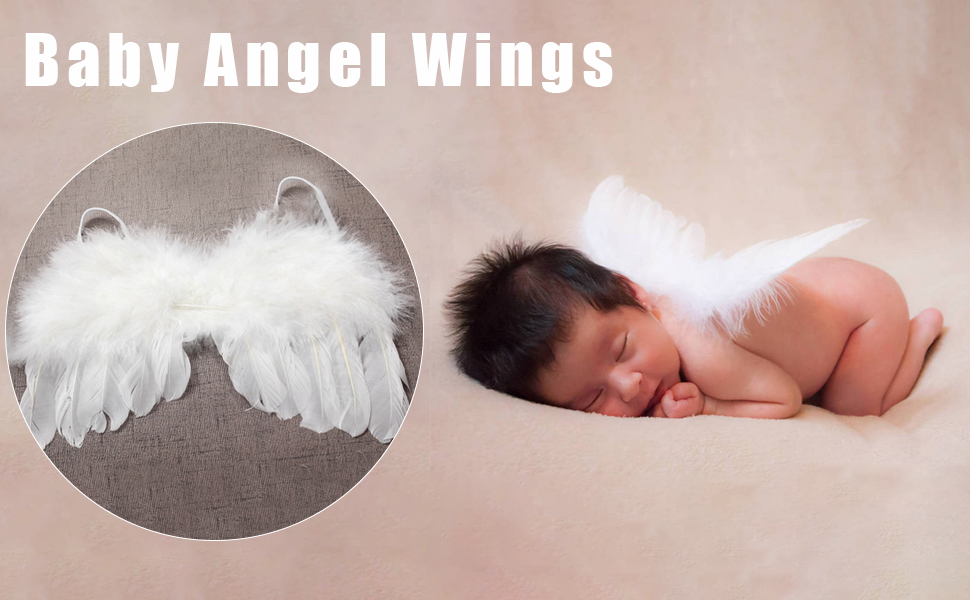Yuehuam Newborn Photography Props Costume Infant Baby Girls Princess Skirt and Cute Headband Outfits Infant Gift Feather Angel Wing Clothes 0~1Month