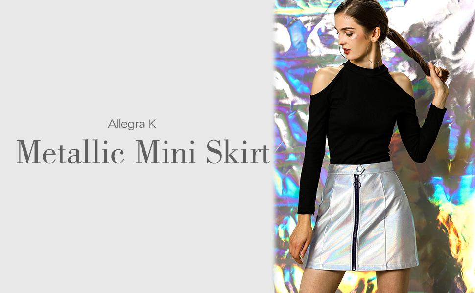Allegra K Minifalda Corta Metálico Holográfica A-Línea Cremallera ...