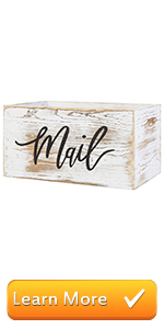 Rustic Wood Tabletop Decorative Mail Holder Box