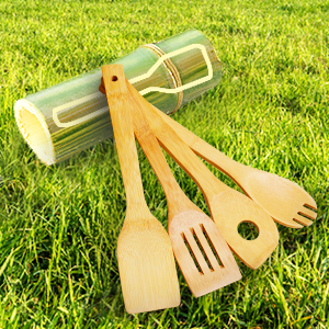 Kitchen cooking utensils set bamboo wooden spoons spatulas non stick cookware