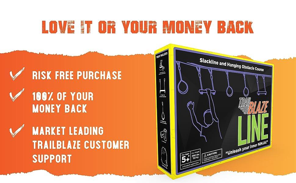 Ninja Slackline Hanging Obstacle Ninja Course - 50 Ninja Line Monkey Bars Kit + Bonus Seat Swing - More Obstacles than Ever w/ Adjustable Positions - ...