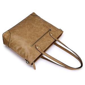 Genuine Leather Work Tote for 15.6 inch Laptop Women Shoulder Bag Large Handbag